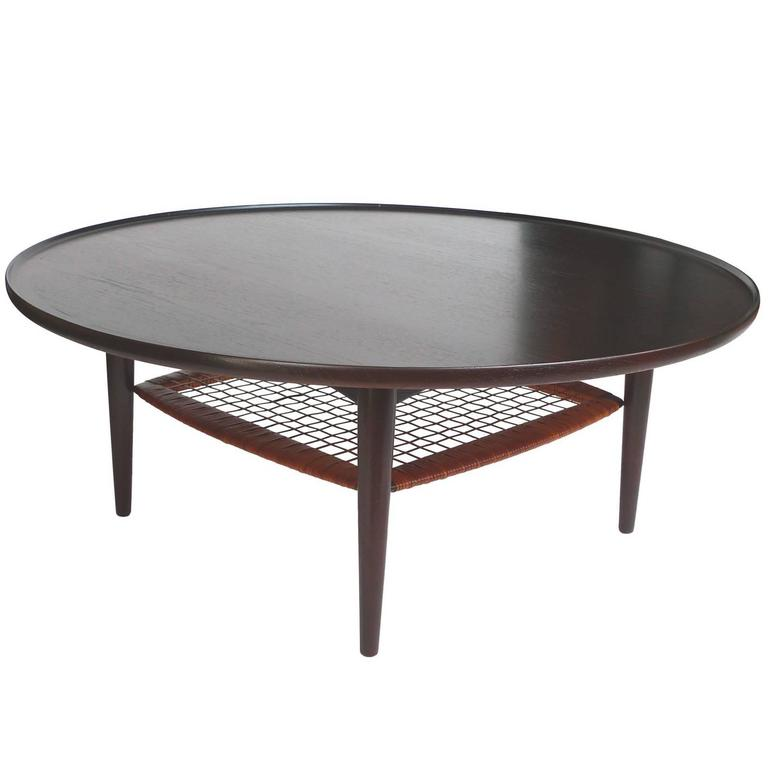 1950s Round Ebonized Teak Coffee Table In The Style Of Poul Jensen At 1stdibs