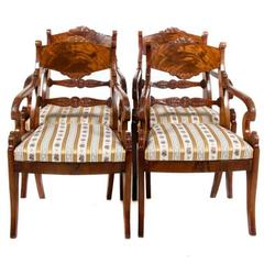 Set of Four Russian Mahogany Armchairs, Circa 1830-1840
