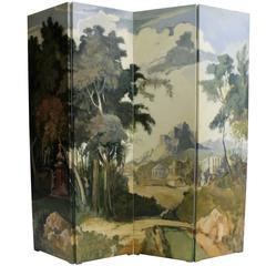 Hand-Painted Romantic Italian Landscape Folding Screen