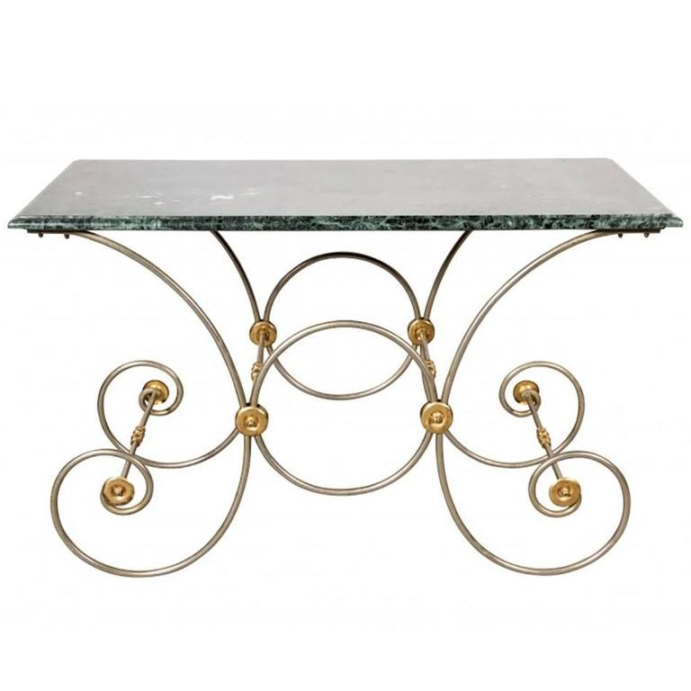 Wrought Polished Steel and Brass Base Console with Marble Top