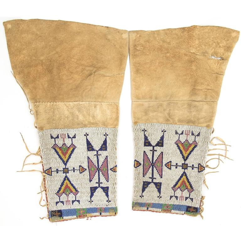 Antique Native American Beaded Leggings, Sioux (Plains Indian), 19th Century