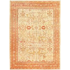 Ivory Background Antique Sultanabad Rug