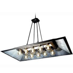 I. P. Frink Style Rectangular, Ten-Light Chandelier