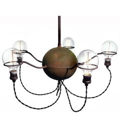 Rustic Five-Bulb Industrial Chandelier