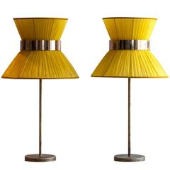 Tiffany Table Lamp yellow silk Shade Antique Brass Silvered Glass h.70x40cm