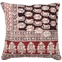 Vintage Indian Resist Dyed Print Pillow in Red, Brown and Off-White