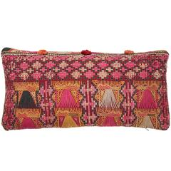 Afghani Pashtun Embroidered Lumbar Pillow in Pink, Gold, Peach, Black and Brown