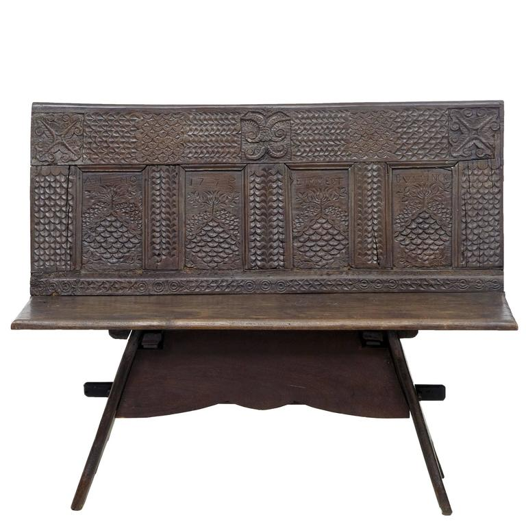 19th Century Victorian Carved Oak Bench 1