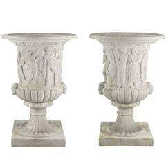 Large Scale Pair of Italian 19th Century White Carrara Marble Medici Urns