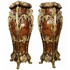 Fine and Rare Pair of Louis XV Style Gilt Bronze-Mounted Marquetry Pedestals
