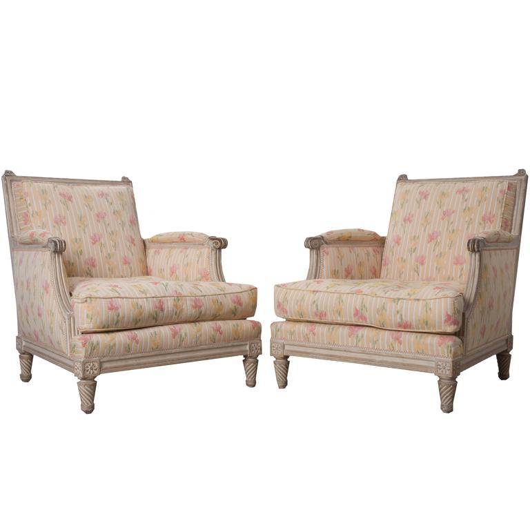 Pair of French Painted Louis XVI Style Bergères