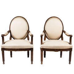 Pair of Antique Italian Neoclassical Style Armchairs