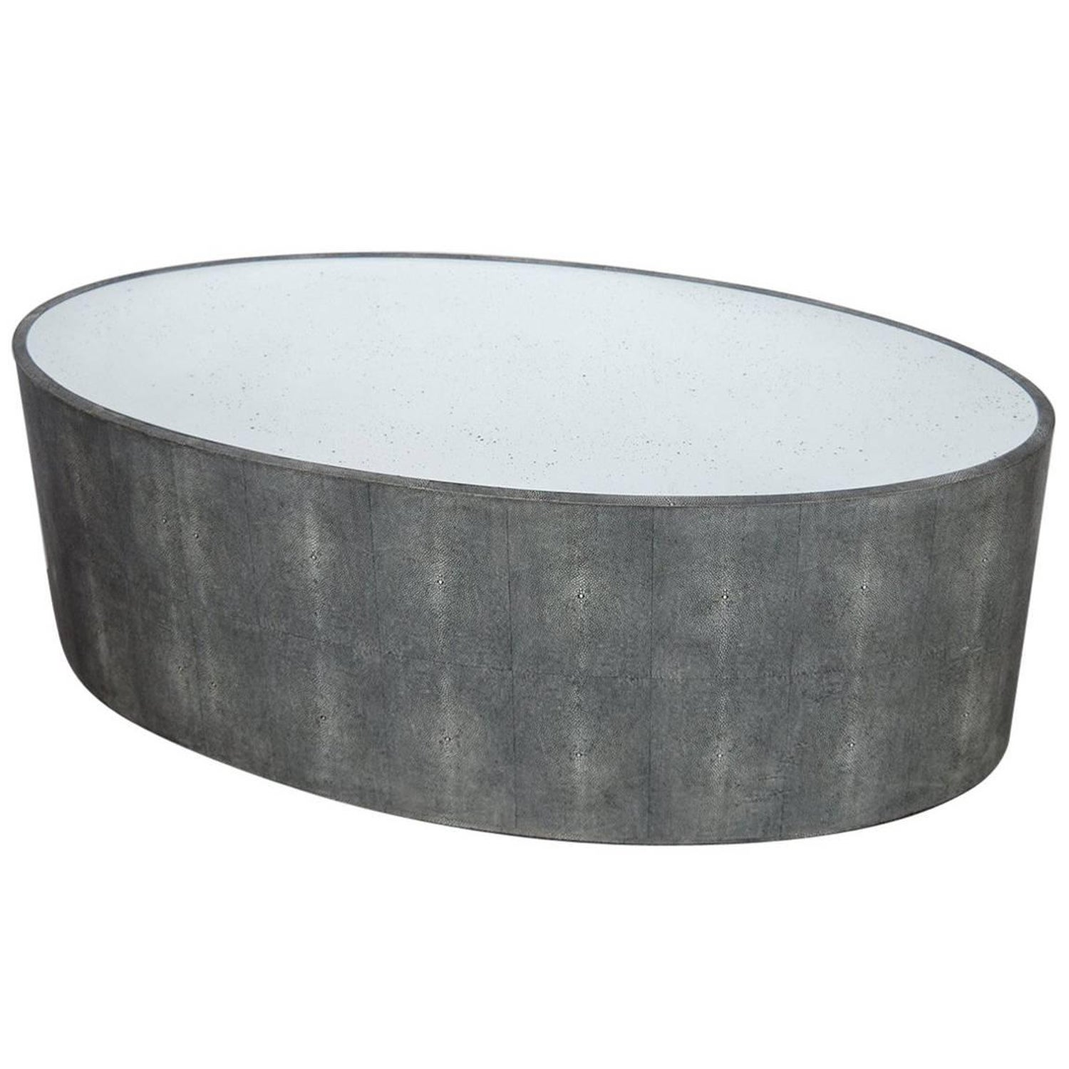 Oval Faux Shagreen Coffee Table For Sale at 1stdibs