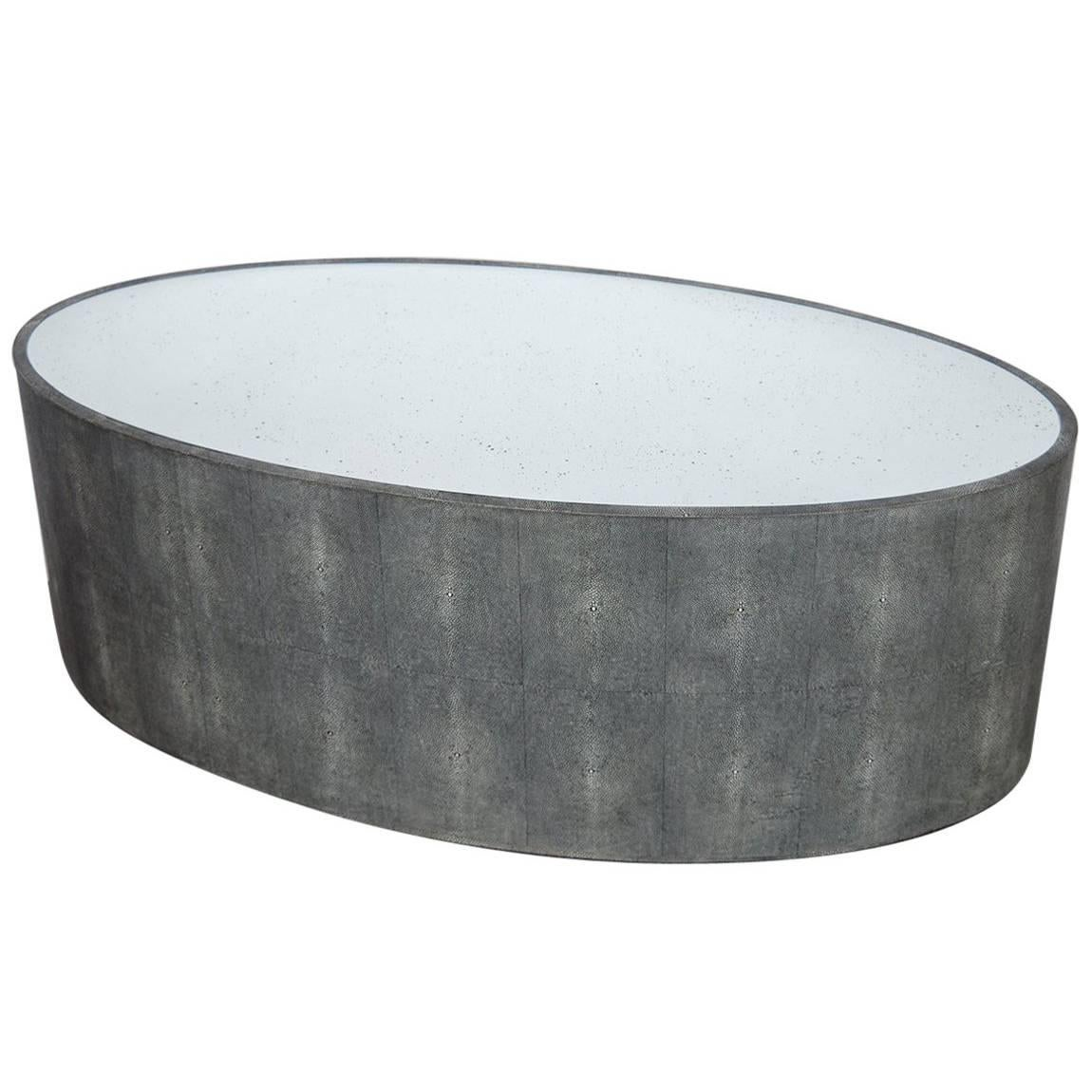 Oval Faux Shagreen Coffee Table For Sale
