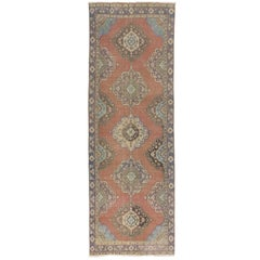 Vintage Turkish Oushak Runner. One of a kind Wool Hallway Carpet