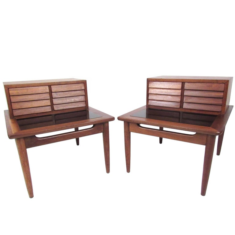 Pair of Midcentury Storage End Tables by American of Martinsville For Sale