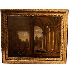 Early 18th Century Flemish Oil Painting Depicting a Venetian Architecture Scene