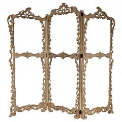 Antique Italian Screen Frame Elaborately Carved and Pierced