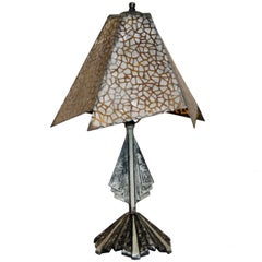 Small Art Deco Accent Lamp, Mica Shade