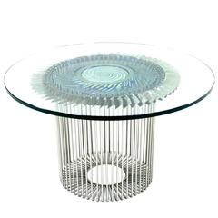 21th Century Patinated Titanium and Stainless Steel Coffee Table by MENNESSIER