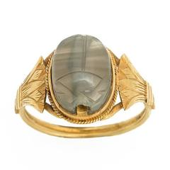 Ancient Amethyst Scarab, Art Nouveau Gold Finger Ring