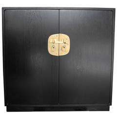 Mid-Century Modern Ebonized Cabinet or Bar by Edward Wormley for Dunbar