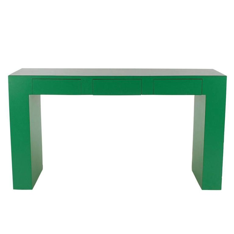 Mid Century Modern Emerald Green Parsons Desk Console Or Sofa Table For Sale