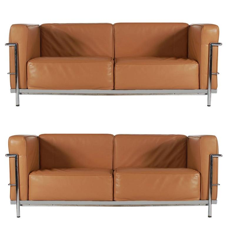 Mid-Century Modern Pair of Tan Leather Sofas in the Style LC2 Corbusier Cassina  1
