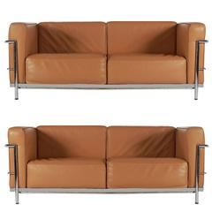 Mid-Century Modern Pair of Tan Leather Sofas in the Style LC2 Corbusier Cassina