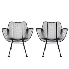 Mid-Century Modern Pair of Sculptural Patio Wire Lounge Chairs, Russell Woodard