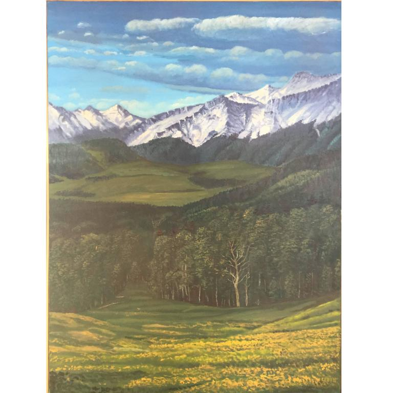 Large Rocky Mountains Landscape Painting Colorado For Sale