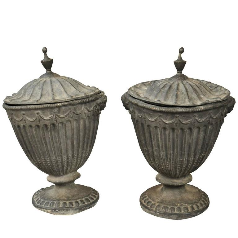 Stunning Pair of 18th Century English Lidded Urns in Lead