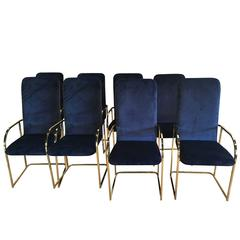Set of 12 Brass DIA Dining Arm Chairs Navy Velvet Design Institute of America