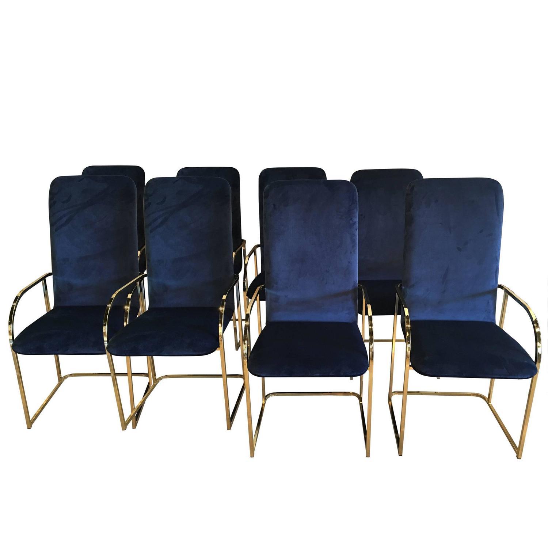 set of 12 brass dia dining arm chairs navy velvet design institute
