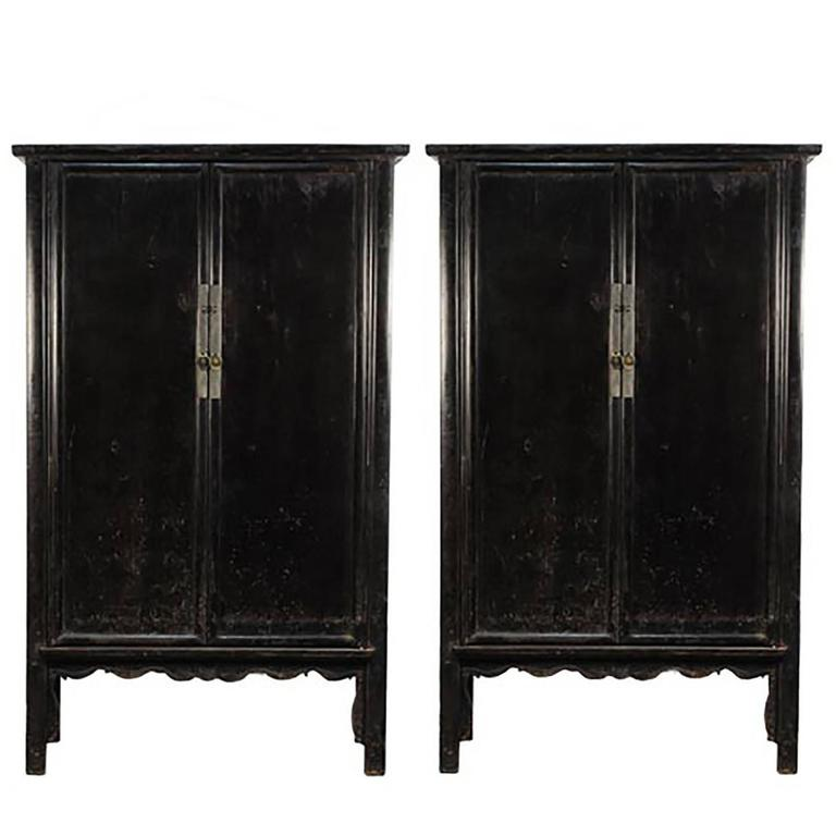 Pair Of 19th Century Chinese Black Lacquer Cabinets With Scalloped As