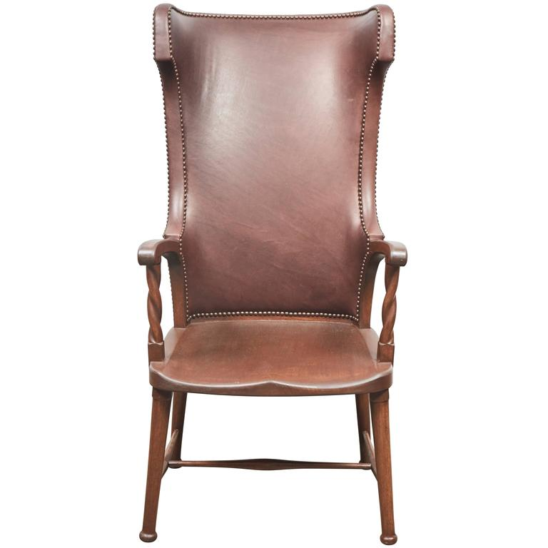 High Back Leather Upholstered Chair For Sale