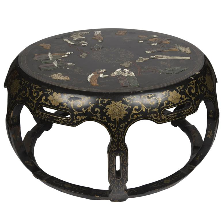 Vintage Style Round Coffee Table: Chinese Black Lacquer Round Coffee Table At 1stdibs
