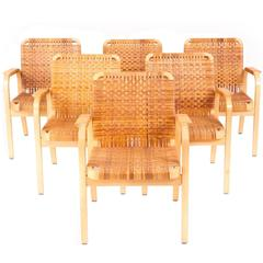 Alvar Aalto Set of Six Armchairs, Model 45