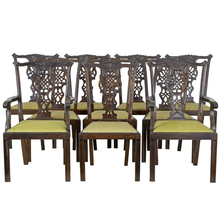 Set of Ten 19th Century Carved Swedish Birch Chippendale Design Dining Chairs For Sale