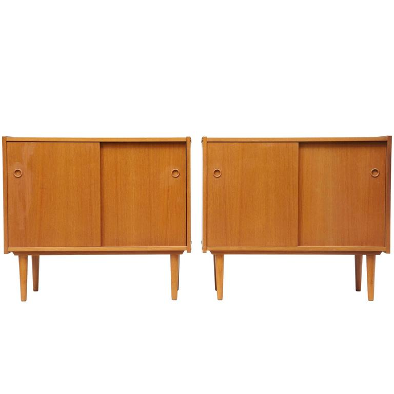Pair Of Small 1960s Danish Teak Sideboards Cabinets For