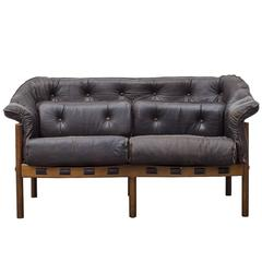 Arne Norell Style Leather Love Seat