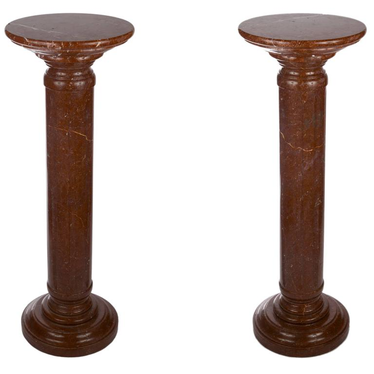20th Century Pair of Rouge Marble Pedestals