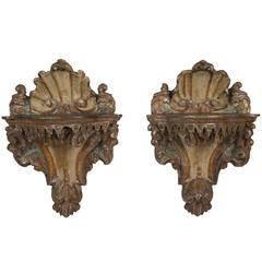 Pair of Venetian Rococo Mecca Lacquered Painted Wall Brackets