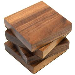 Four-Piece Coaster Set in Solid Walnut Wood and Lined with Lambskin