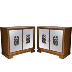 Chinoiserie Oak Chests with Mirrored Fronts, Pair