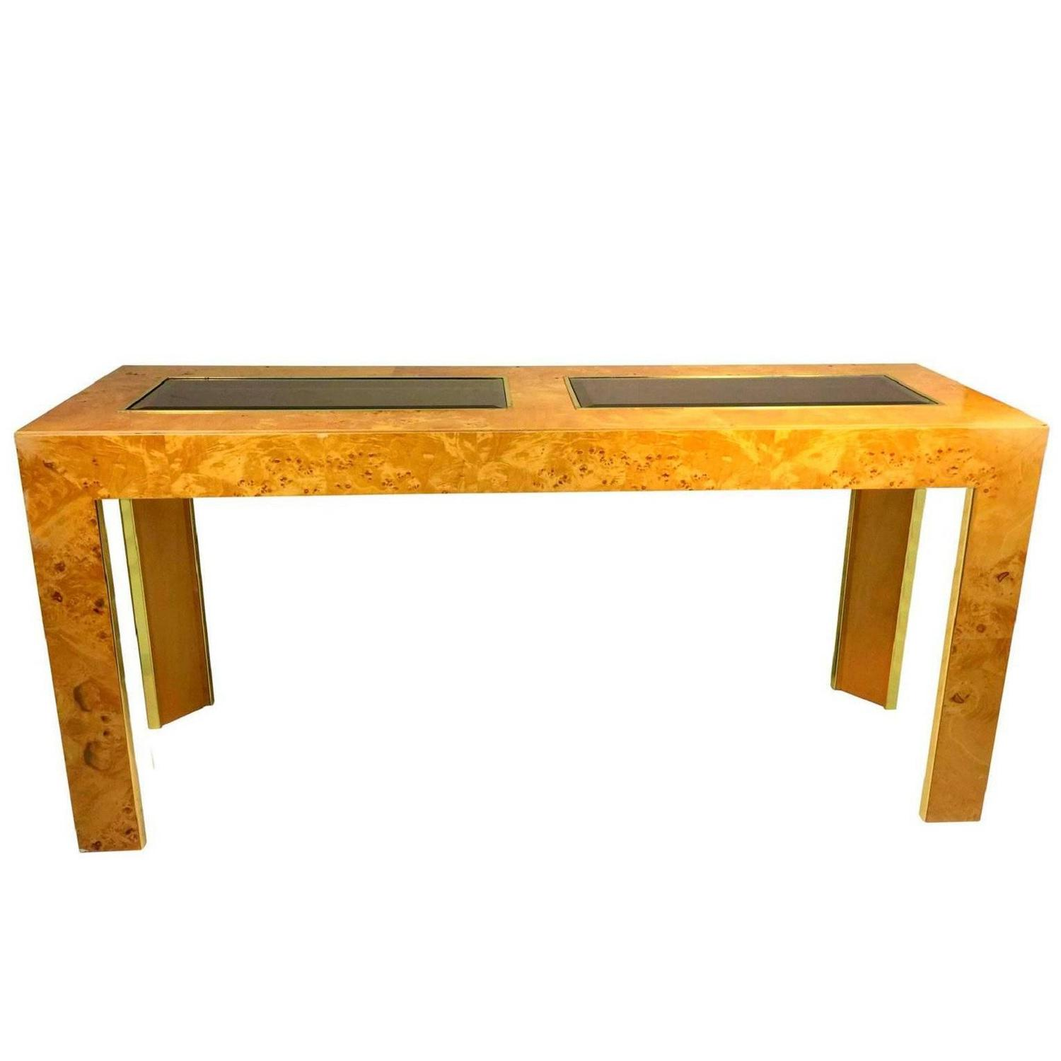Burl Olive Ash Console or Sofa Table by Thomasville For Sale at