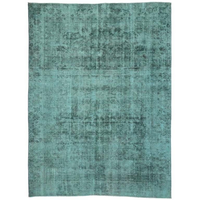 Vintage Persian Tabriz Rug Overdyed In Aqua With Modern