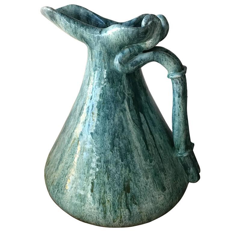 Mid-Century Signed Marcello Fantoni Glazed Ceramic Vase Pitcher