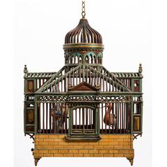 1940s Wood Bird Cage Chandelier