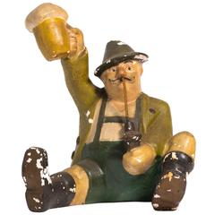1930s Plaster Advertising Piece for a German Brewery